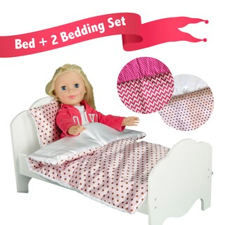 Olivia's Little World Little Princess 18-inch Doll Single Bed with 2-piece Bedding Set