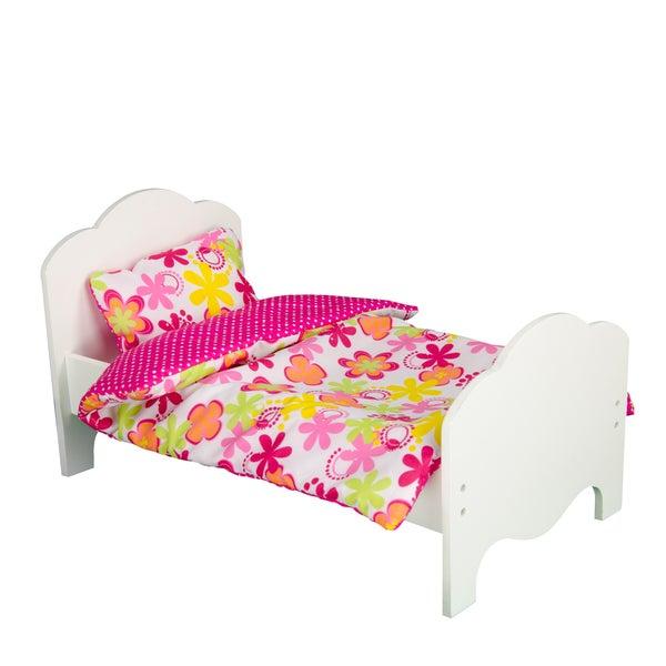 Teamson Little Princess 18-inch Single Bed & Two Bedding Set Zebra Print/ Summer Flowers