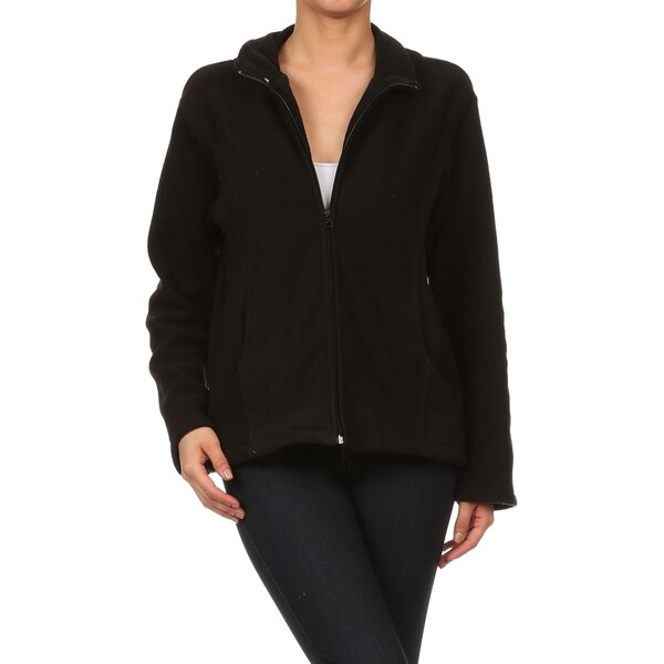 Famous Maker Collared Polar Fleece Jacket with Pockets