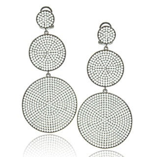Suzy Levian Blackened Sterling Silver Cubic Zirconia Pave Graduating Circle Earrings