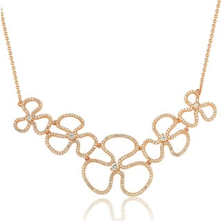 Suzy Levian Rosed Sterling Silver Cubic Zirconia Floral Thin Necklace