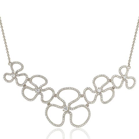 Suzy L. Sterling Silver Cubic Zirconia Floral Thin Necklace - White