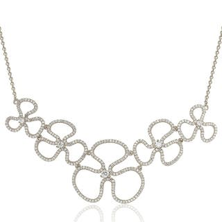 Suzy Levian Sterling Silver Cubic Zirconia Floral Thin Necklace|https://ak1.ostkcdn.com/images/products/10757066/P17810527.jpg?impolicy=medium