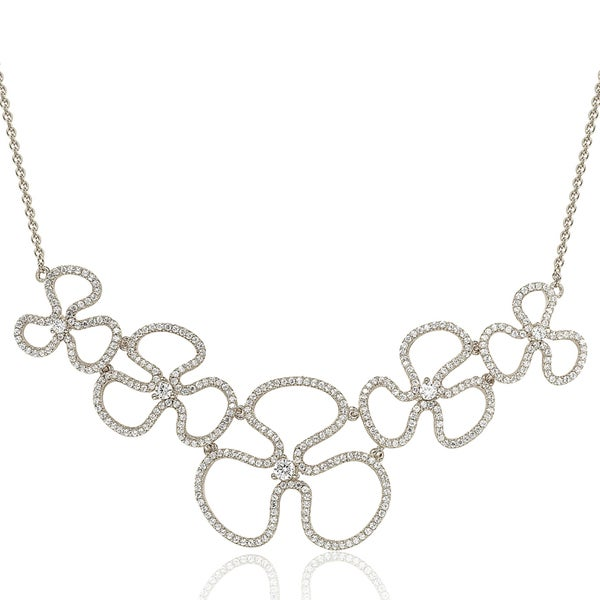Suzy Levian Sterling Silver Cubic Zirconia Thin Floral Necklace