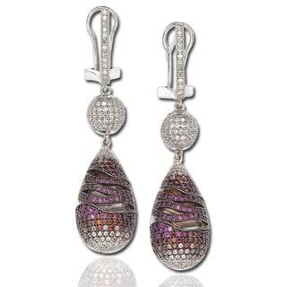 Suzy Levian Pink Cubic Zirconia Sterling Silver Dangle Drop Earrings