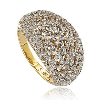 Suzy Levian Yellow Sterling Silver Pave Cubic Zirconia Crisscross Ring