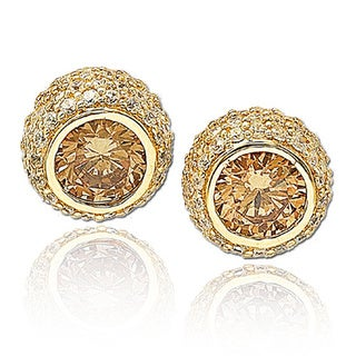 Suzy Levian Cubic Zirconia Sterling Silver Pave Stud Earrings