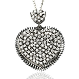 Suzy Levian Pave Cubic Zirconia Sterling Silver White Heart Love Pendant
