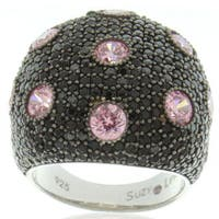 Suzy Levian Sterling Silver Black and Pink Cubic Zirconia Pave Oversized Dome Ring