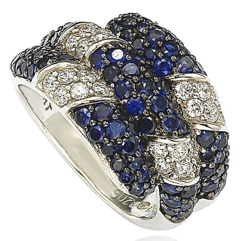 Suzy Levian Sapphire and Diamond in Sterling Silver and 18K Gold Swirling Ring - Blue