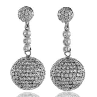 Suzy Levian Sterling Silver Cubic Zirconia Disco Ball Drop Earrings