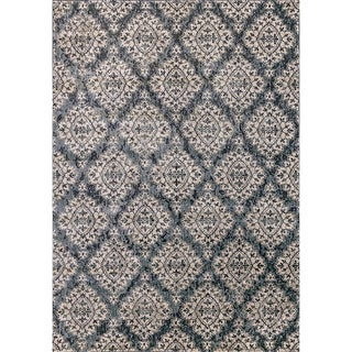 Cappella Floral Diamonds Blue Area Rug (2'2 x 10'10)