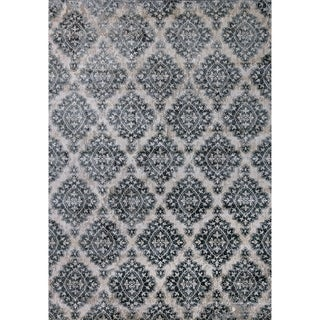 Cappella Floral Diamonds Ivory/ Blue Area Rug (2'2 x 10'10)
