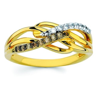 Boston Bay Diamonds 14K Gold 1/5ct TDW Cognac & White Diamond Fashion Ring (H-I, SI2-I1)