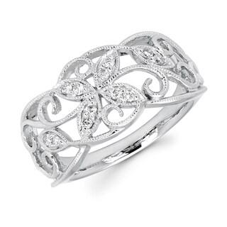 Boston Bay Diamonds 14k Gold 1/8ct TDW Diamond Ivy Ring with Millgrain Detaill (H-I, SI2-I1)