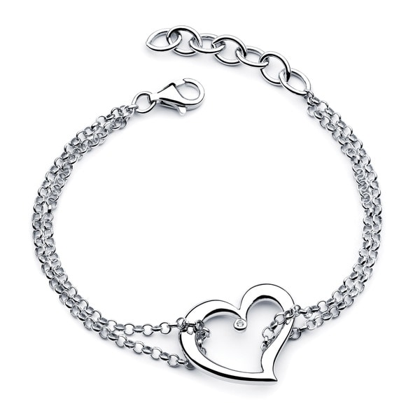 .925 Sterling Silver Diamond Accent Double Heart Charm Bracelet for Girls (I Color, I1 Clarity). Opens flyout.