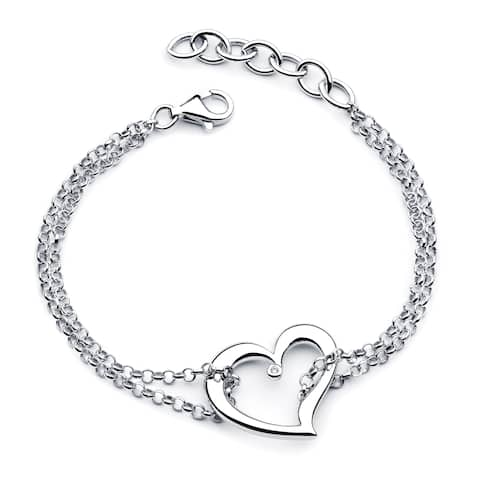 Boston Bay Diamonds 925 Sterling Silver .01ct TDW Diamond Accent Double Chain Heart Bracelet
