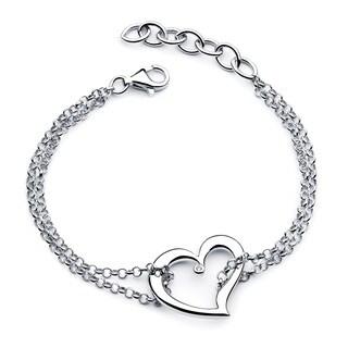 Boston Bay Diamonds 925 Sterling Silver .01ct TDW Diamond Accent Double Chain Heart Bracelet