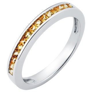 Boston Bay Diamonds Love Lock 14k White Gold and Yellow Sapphire Wedding Band (G-H, SI1-SI2)