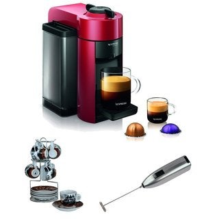 Nespresso GCC1-US-GR-NE Espresso Maker + Cup and Saucer w/ Wire Rack + Frother (Red)