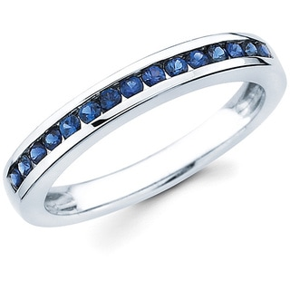 Boston Bay Diamonds Love Lock 14k White Gold and Blue Sapphire Wedding Band (G-H, SI1-SI2)