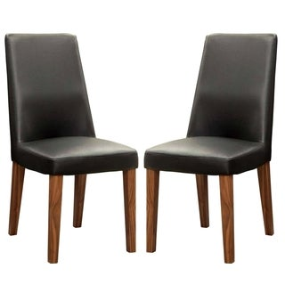 Agusta Modern Black Upholstered Dining Chairs (Set of 2)