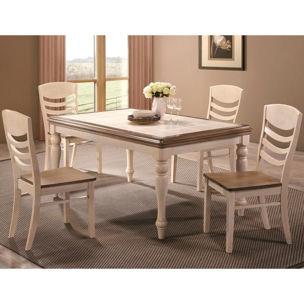 Montgomery Two tone Ceramic Tile Top Dining Set Free