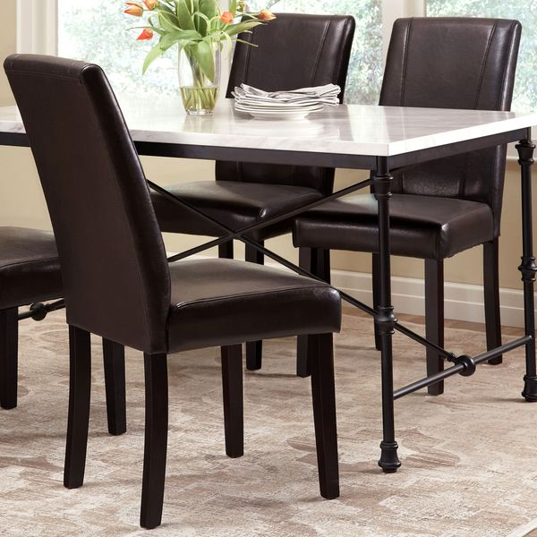 Xavier Leatherette Dining Chair Black: Shop Ramiro Black Leatherette Upholstered Parson Chairs