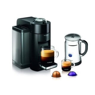 Nespresso A+GCC1-US-BK-NE Black VertuoLine Evoluo Deluxe Coffee & Espresso Maker + Aeroccino Plus Milk Frother