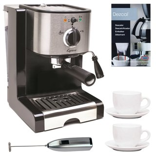 Capresso Pump Espresso and Cappuccino Machine Bundle + Knox Milk Frother, Descaler + Tiara Cup/Saucer (2-Pack)
