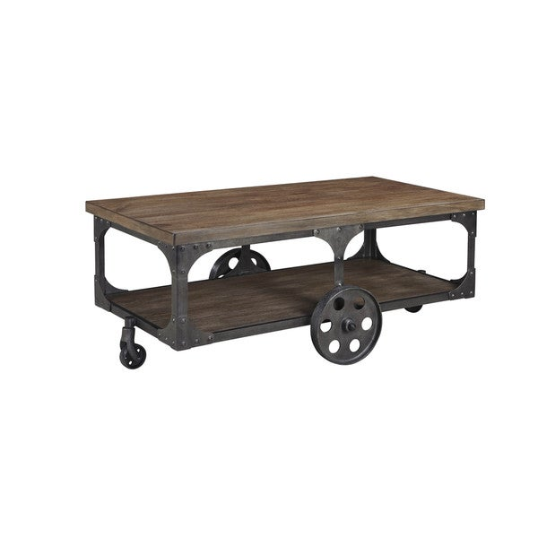 Industrial Rustic Factory Cart Coffee Table: Industrial-Chic Vintage Factory Cart Gray/Brown Cocktail
