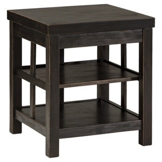 signature design by ashley gavelston rubbed black square end table