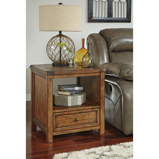 Signature Design by Ashley Tamonie Medium Brown Square End Table