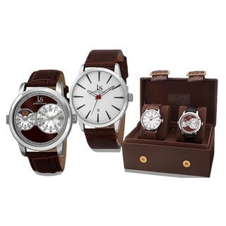 Joshua & Sons Men's Quartz Multifunction Dual Time Leather Brown Strap Watch