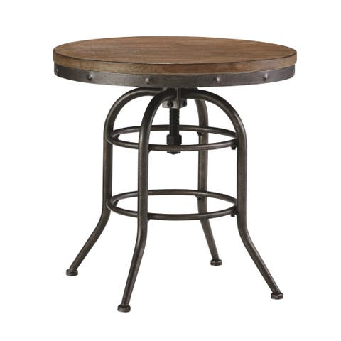 Vennilux Grayish Brown Vintage Casual Round End Table