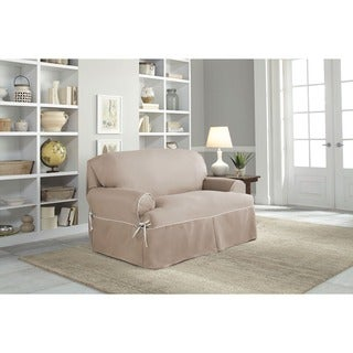 Tailor Fit Relaxed Fit Twill T-cushion Loveseat Slipcover in Natural (As Is Item)