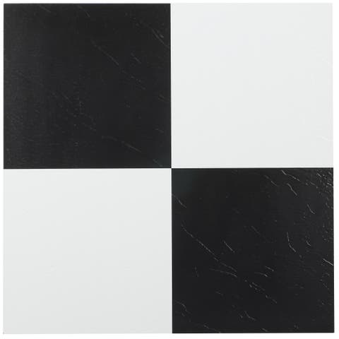 Achim Tivoli Black & White 12x12 Self Adhesive Vinyl Floor Tile - 45 Tiles/45 sq. Ft