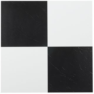 Tivoli Black & White 12x12 Self Adhesive Vinyl Floor Tile - 45 Tiles/45 sq Ft.