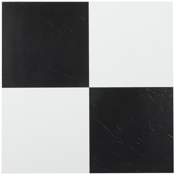 Shop Achim Tivoli Black White 12x12 Self Adhesive Vinyl Floor Tile