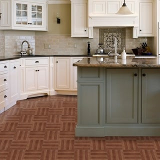 Tivoli Medium Oak Plank-Look 12x12 Self Adhesive Vinyl Floor Tile - 45 Tiles/45 sq Ft.