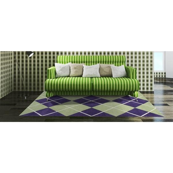 Alliyah Handmade Purple New Zealand Blend Wool Rug (8x10)