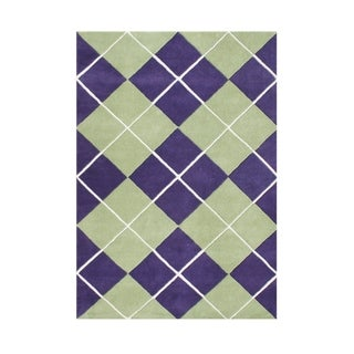 Alliyah Handmade Purple New Zealand Blend Wool Rug (5' x 8')