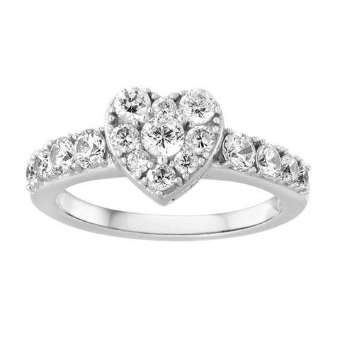 Sterling Silver Cubic Zirconia Pave Heart Ring - White