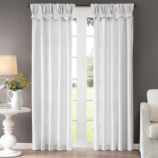 """Madison Park Natalie Twisted Tab Curtain Panel in Ivory size 50 x 95"""" (As Is Item)"""