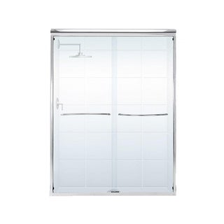Paragon 3/8 Series 60 inches wide x 76 inches high Frameless Sliding Shower Door with Radius Curved Towel Bar