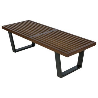 LeisureMod Inwood Dark Walnut 4-foot Platform Bench