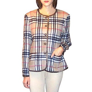 Dolores Piscotta Women's Woven Cashmere Plaid Jacket