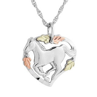 Black Hills Gold over Silver Horse Pendant