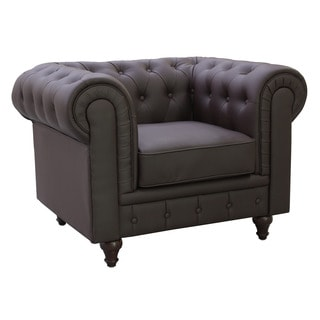 Grace Brown Bonded Leather Chesterfield Chair