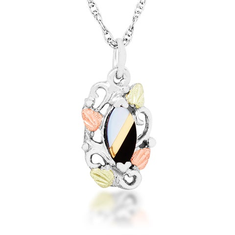 Black Hills Gold-on Silver Opal and Onyx Pendant